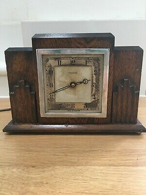 VINTAGE FERRANTI MANTLE CLOCK WOOD ART DECO WOODEN 1920's - 1930's ELECTRIC