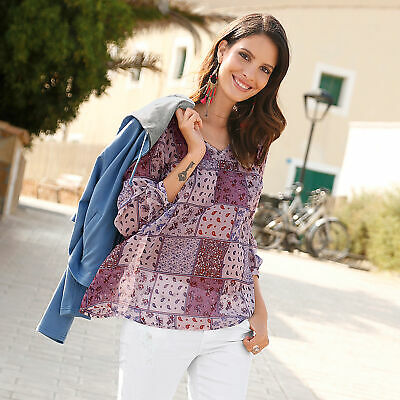 Blusa mujer de manga regulable patchwork chiffon mujer by VencaStyle - 100843