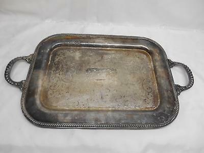 Antique CRESCENT SILVER ON COPPER SERVING TRAY Ornate Design Side Handles  18x13
