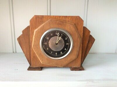 Old Smiths or Jaeger Car Clock Mounted in art deco Wooden Case