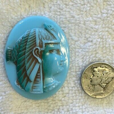 Vintage 2 Pcs Rare Egyptian Revival Lady Cleopatra Cameo Turquoise Glass Jewels