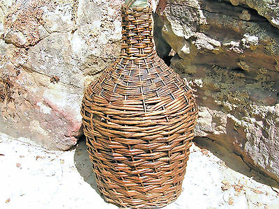 Old Wicker Glass Italian Wine Jug 0712