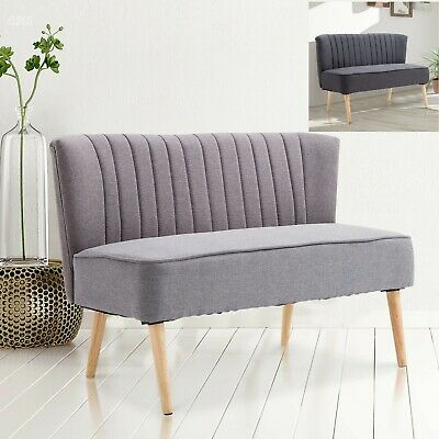 Fabric Small Sofa Retro Cozy Seater Lounge Relax Couch Living Room 2 Colors NEW