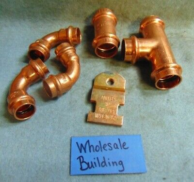 """Nibco & Viega Copper Assortment 1/2"""" & 3/4"""" Tube Fittings Epdm O'ring Lot Of 6"""