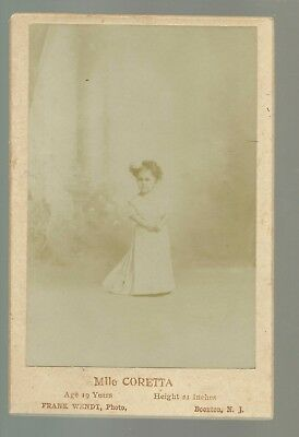 Boonton NEW JERSEY c1890 CIRCUS MIDGET Mlle Coretta AUTOGRAPHED Dwarf WENDT