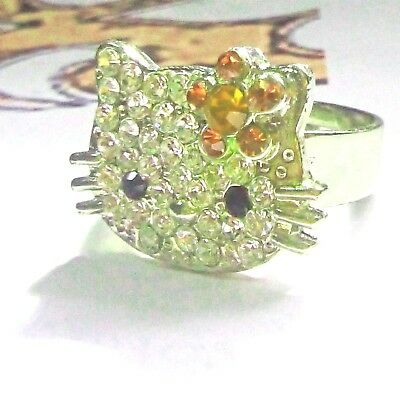 MISS KITTY licensed  SANRIO Japan Girl's RING Sz 4-6 l/2 Crystals BLING