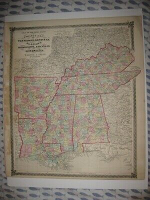 Superb Antique 1874 Kentucky Alabama Louisiana Tennessee Mississippi Handclr Map