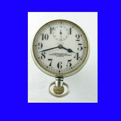Rare WW1 Smiths Silver Goliath 8-Day Patent Watch Car Clock 1918