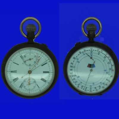 Double Dial Patent Chronograph Speed Indicator Mensor Pocket Watch 1903