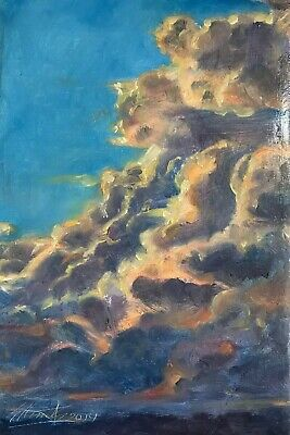 Original Painting sunset storm landscape clouds realism fine art originals USA