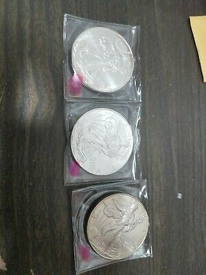 (4) lot of Uncirculated 1996 American Silver Eagle Dollar rare short key date