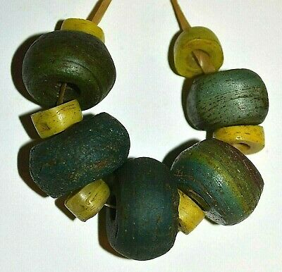 Ancient Blue Green Yellow Glass Hebron Kano Beads West Bank Israel African Trade