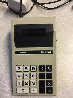 Vintage hand held ROYAL Mini Five Calculator & Charger