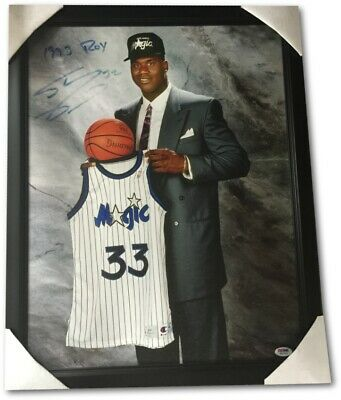 Shaquille O'Neal Shaq Hand Signed Autographed Custom Framed Canvas ROY PSA/DNA