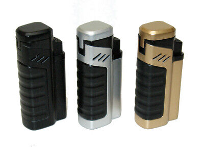 3 COLORS! Guardsman Quad Torch Butane Cigar Lighter With Punch Cutter