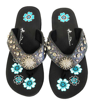 faaa441fe14b6 Montana West Flip Flops Sandal Crackle Texture Crystals Floral Concho Blue