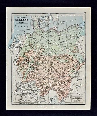 1889 Hughes Map - Physical Germany Bavaria Alps Danube Austria Baltic Sea Europe