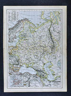 c 1885 Hartleben Map Russia St. Petersburg Moscow Poland Finland Estonia Europe