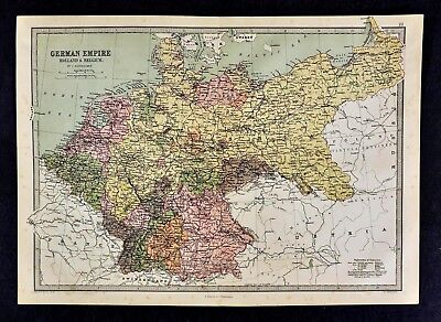 1876 Bartholomew Map - German Empire Holland & Belgium Bavaria Prussia Amsterdam