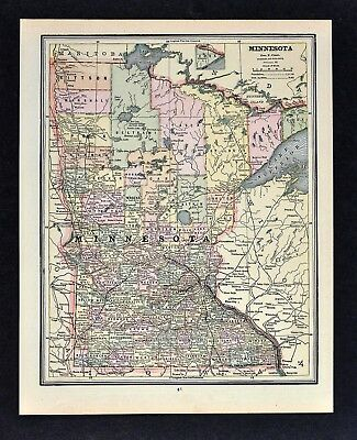 c1891 Cram Map - Minnesota Minneapolis St. Paul Cloud Duluth Grand Forks MN