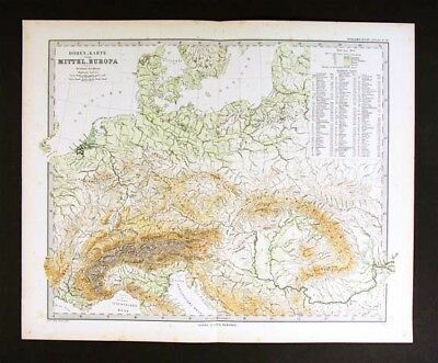 1882 Stieler Map - Physical Germany Austria Alps Europe