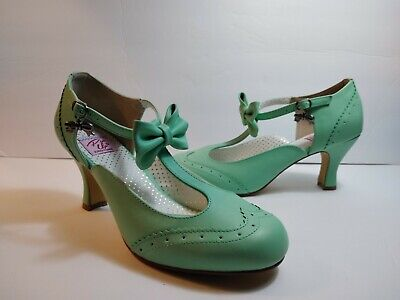 ea27c86eb6 Pin Up Couture FLAPPER-11 Womens Mint Faux Leather Mary Jane T-Strap Size
