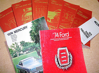 1974 Ford Lincoln Mustang Cougar Torino Mercury Marquis Shop Manual Service Set