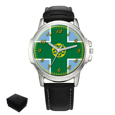 Derbyshire County Flag Gents Mens Wrist Watch  Gift Engraving
