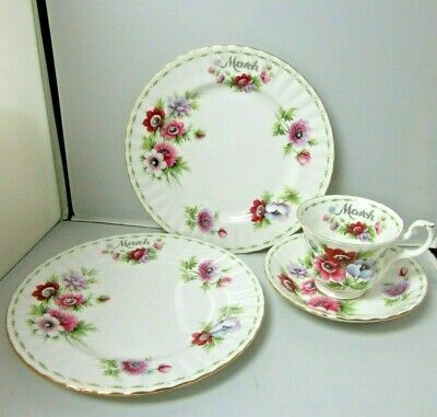 Vintage Royal Albert Trio Flower of the Month March Anemones Cup Saucer 2 Plates