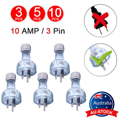 10AMP 3 Pin AU Power Flat Male Plug Rewireable Electrical Industrial 240 Volts