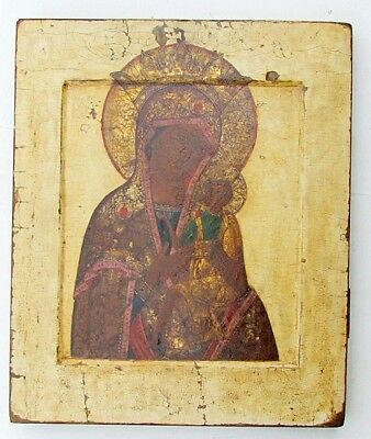 ANTIQUE 17th CENTURY LARGE RARE RUSSIAN ICON of ALL-HYMNED MOTHER of GOD