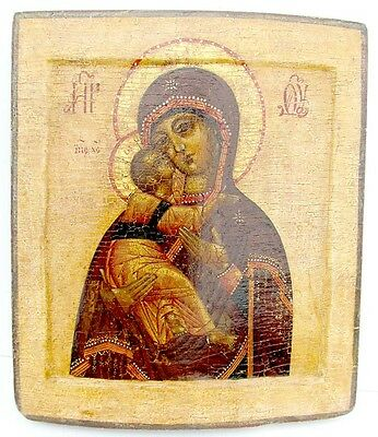 Late 17th - early 18th CENTURY ANTIQUE RUSSIAN ICON of VLADIMIRSKAYA VIRGIN