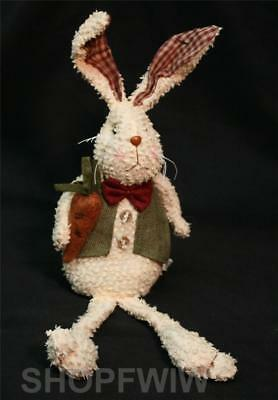 12-inch Primitive Sitting Tea-Stained Bunny with Carrot and Green Vest