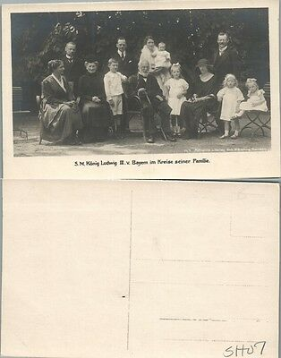 ANTIQUE GERMAN RPPC REAL PHOTO POSTCARD - KING OF BAVARIA LUDWIG III w/ FAMILY