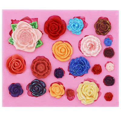 22 Rose Flower Silicone Mould Polymer Clay Candy Cake Decor Fondant Baking Mold