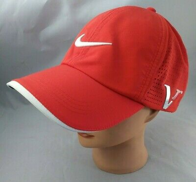 dc06780d2cd49 Nike Golf Hat Red Swoosh One Size Fits Most Adjustable Velcro Cap
