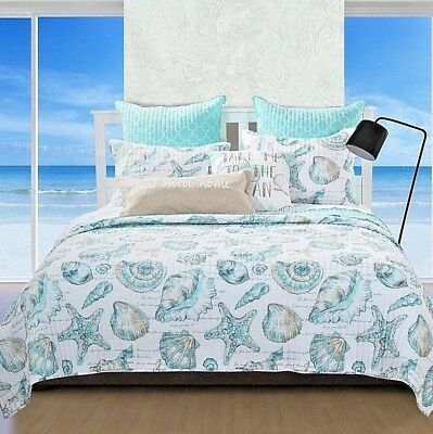 Nautical Ocean Themed Seashell 8 Piece Bed In Bag Comforter Set,Choice Sizes-NEW