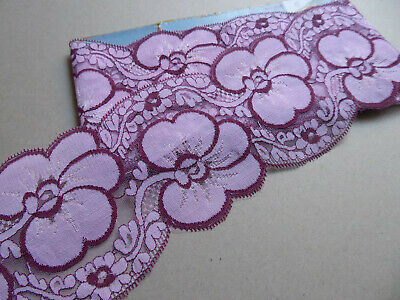 Lilac Vintage Lace Trim. 100mms wide. 1960's. Price per YARD