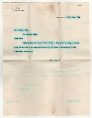 Rare 1898 HENRY HUTTLESTON ROGERS TLS Signed Letter AUTOGRAPH Fairhaven MASS MA