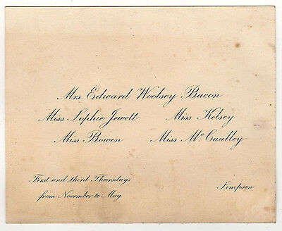 1900s Wellesley College Calling Card Sophie Jewett Mrs Edward Woolsey Bacon Masa