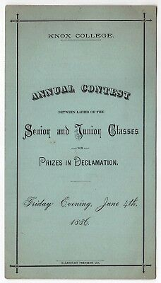 Rare 1886 Knox Collège Programme Declamation Concours Debate Galesburg Illinois