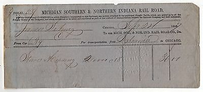 1856 MICHIGAN SOUTHERN & NORTHERN INDIANA RAILROAD RR Trains TRAIN Document
