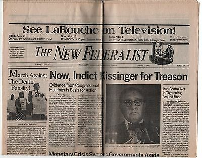 1992 NEW FEDERALIST Political Newspaper LYNDON LAROUCHE Protest CAUSE Kissinger
