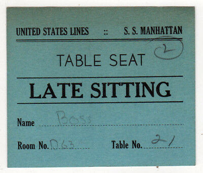 1935 SS MANHATTAN United States Lines TABLE SEAT Ticket PASS Dinner SHIP Liner
