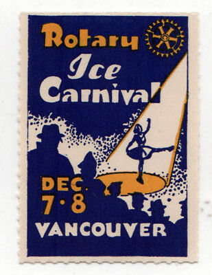 VINTAGE VANCOUVER BRITISH COLUMBIA Canada ROTARY ICE CARNIVAL Decal LABEL Stamp