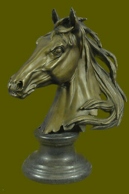 Beautiful Pure Bronze Mounted Horse Statue Bust Art Deco Marble Base Sculpture