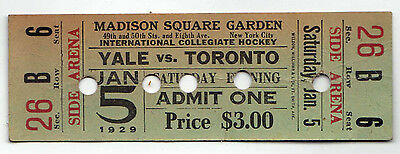 Introvabile 1929 Madison Square Garden College Hockey Yale Toronto Biglietto New