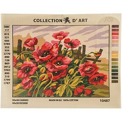 Collection D'art Needlepoint Printed Tapestry Canvas 40x50cm-poppies