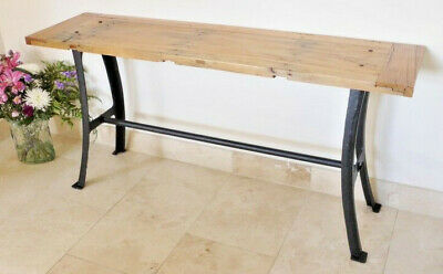 Wooden Top Industrial Style Console Table Rustic Cast Iron Hall Stand Side Desk