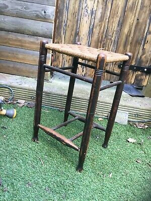 """Vintage/Retro Woven Topped Tall Stool 12 X 13 X 22"""" Tall Natural  Free P&P"""